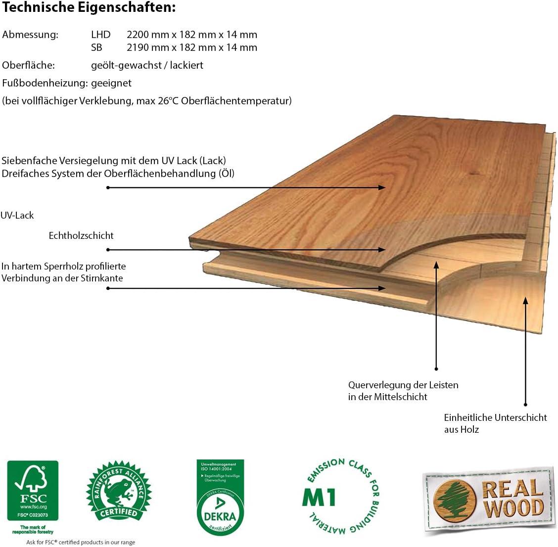 3,189m/²//Pack Parat 15 eur Kirsche Trend SB lack.14mm 2190x182x14mm 3-Stab LOC5G 3-Schicht Mattlack 160,85 /€ pro Verpackungseinheit 50,44 /€ // m/²