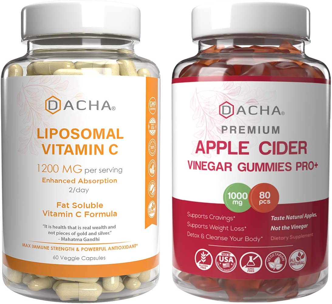 Liposomal Vitamin C & Apple Cider Vinegar Gummies – Premium Bundle for VIT C Immune Boost, Detox and Cleanse, Weight Loss Support ACV with Mother, Stomach Friendly, High Potency Ascorbyl Palmitate