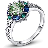 Psiroy 925 Sterling Silver Green Amethyst Filled Ring Flower Shaped Band