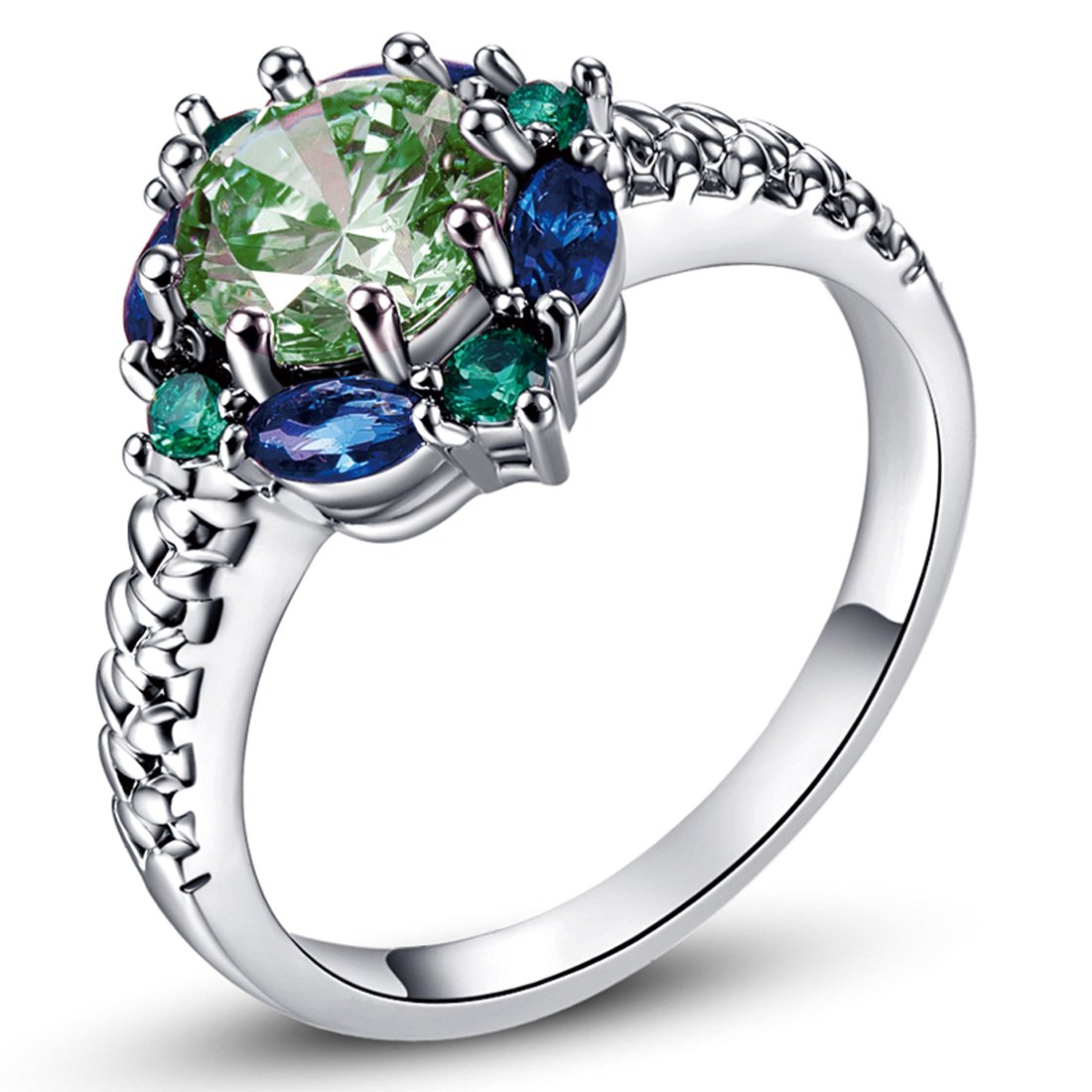 Psiroy 925 Sterling Silver Green Amethyst Filled Ring Flower Shaped Band Size 7
