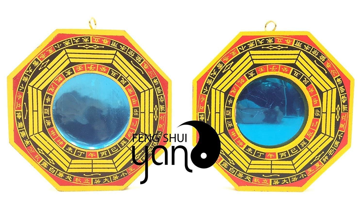 FengShuiYan 6 Inch Bagua Mirror Set of 2 for Protection; One Concave Mirror for Protection Against Passive Negative Energy & One Convex Mirror for Protection Against Active Harmful Energy