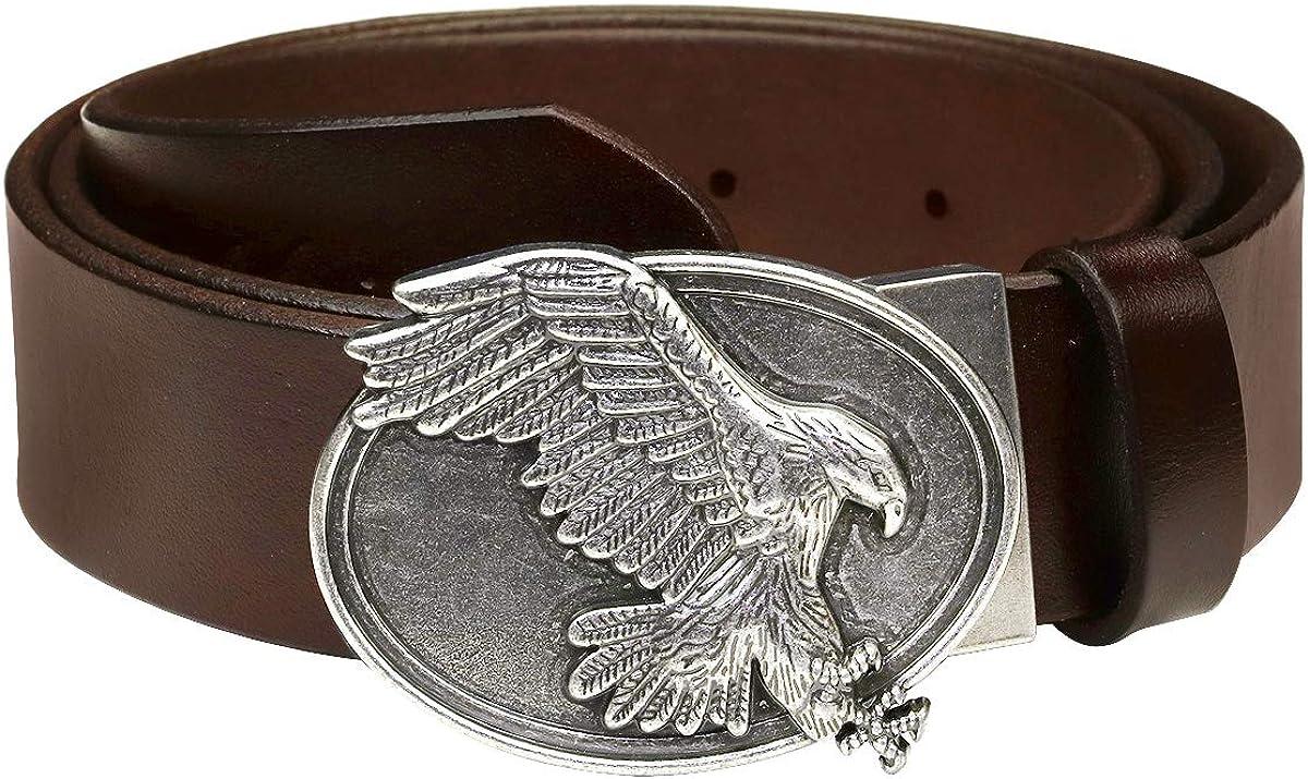Falari Mens Dress Belt Jeans Belt Full Grain Leather Alligator Eagle Tiger Bull Buckle