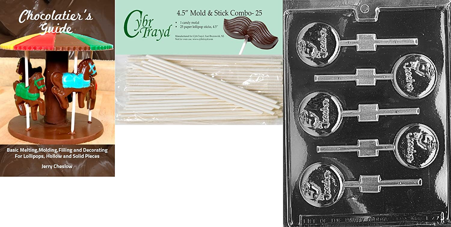 Cybrtrayd Life of the Party J037 Teacher Apple Lolly Chocolate Candy Mold in Sealed Protective Poly Bag Imprinted with Copyrighted Cybrtrayd Molding Instructions  i