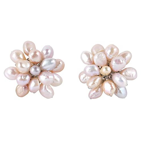 Large Cultured Freshwater Pink Pearl Floral Cluster Stylish Statement Clip On Earrings