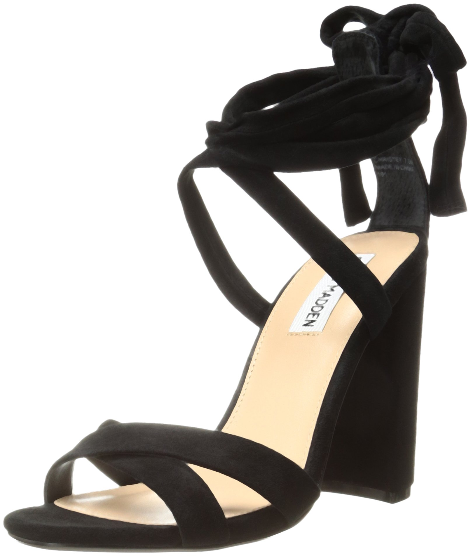 Steve Madden Women's Christey Dress Sandal, Black Suede, 9 M US