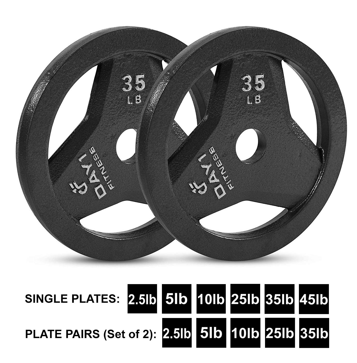"""Day 1 Fitness Cast Iron Olympic 2-Inch Grip Plate for Barbell, 35 Pound Set of 2 Plates Iron Grip Plates for Weightlifting, Crossfit - 2"""" Weight Plate for Bodybuilding"""