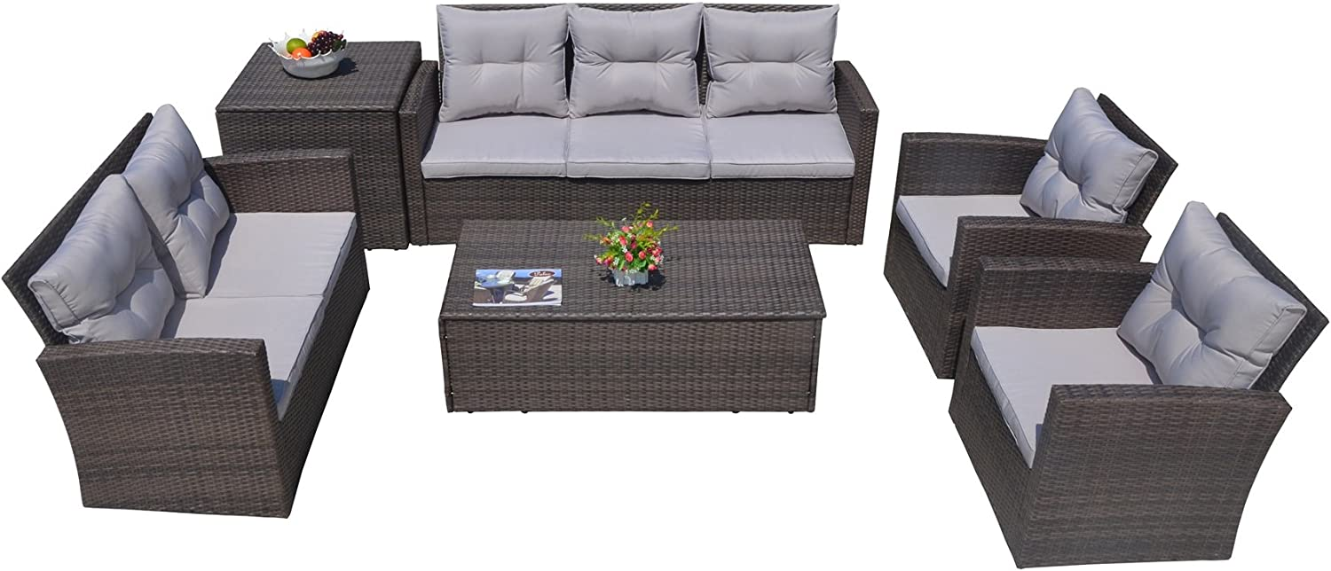 Direct Wicker 7 Pieces Rattan Garden Furniture Sofa Set with Large