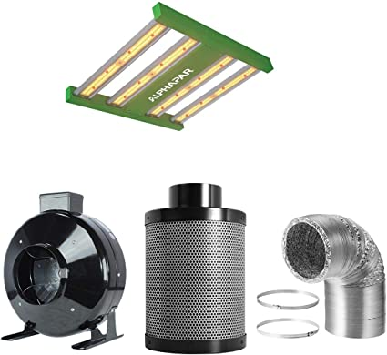 4 Fan Filter Kit PrimeGarden 4 Inch Inline Fan Carbon Air Filter Ducting Combo Pre-filter Included for Hydroponics Indoor Grow Tent Ventilation System