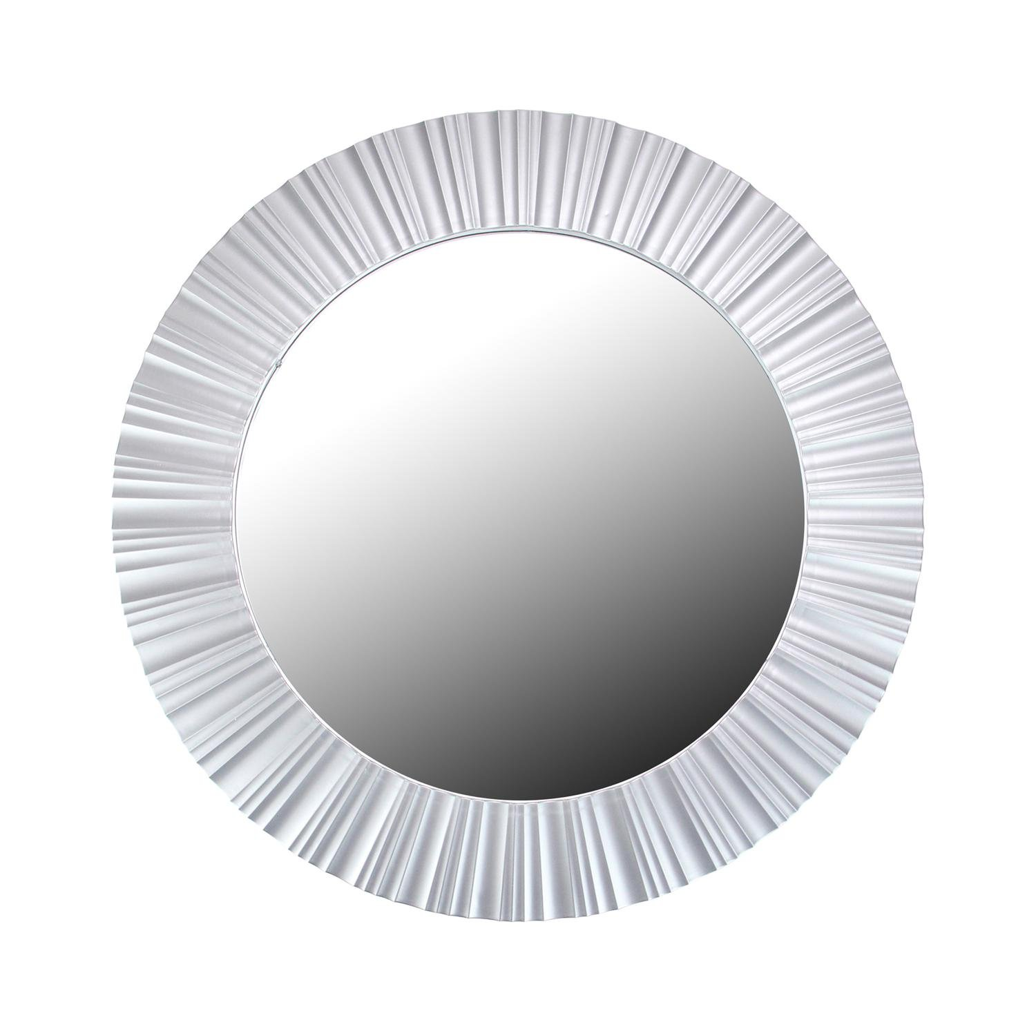 Northlight Simply Elegant Fluted Frame Decorative Round Wall Mirror, 20'', Silver