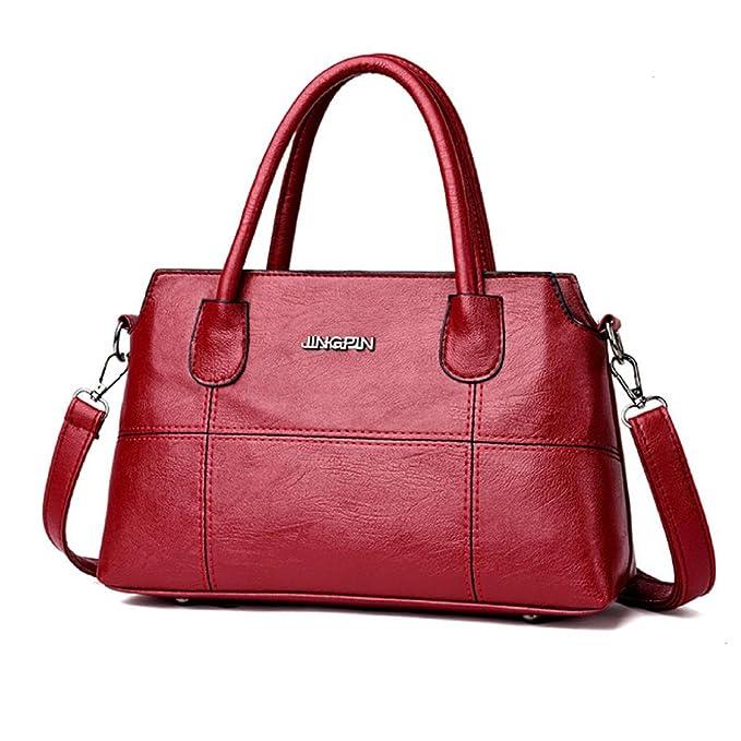 9ec3d6aa6e64 Amazon.com: Owill Fashion Women Girls Leather Double Handle Handbag ...