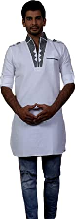 Tathastu Mens Top Tunic Kurta Summer Shirt - Cotton