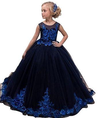 Long Black Flower Girl Dress