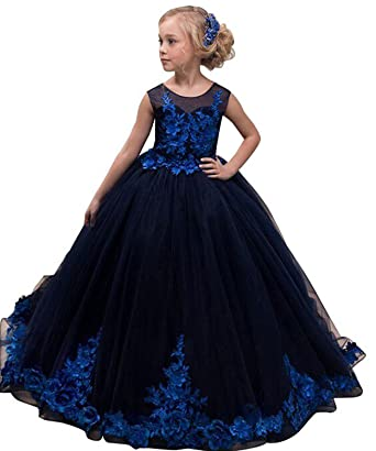 black-blue-flower-girl-dress