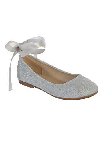 74ece1e99c Amazon.com | Girls Silver Glitter Satin Ribbon Ankle Ties Ballerina ...