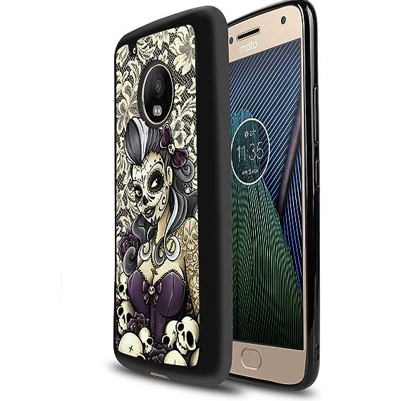 new arrival 03b43 eb6d7 Amazon.com: MooreDickey Moto G5 Plus Case, Sugar Skull TPU PC Soft ...