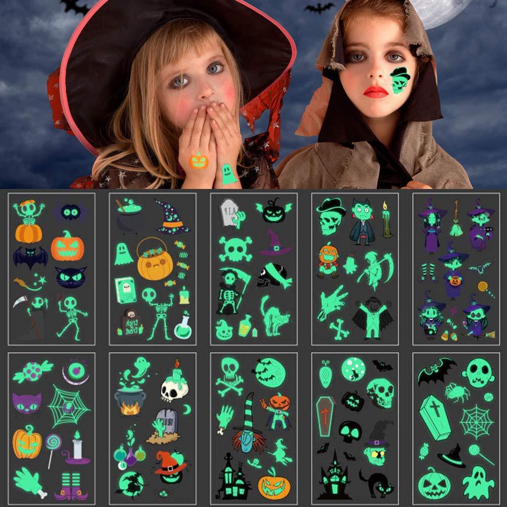 Halloween Temporary Luminous Tattoos Glow in The Dark, Kids Waterproof Tattoo Stickers for Halloween Party Supplies…