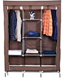 Unique Gadget Fancy & Portable Fabric Collapsible Foldable Clothes Closet Wardrobe Storage Rack Organizer Cabinet Cupboard Almirah Brown