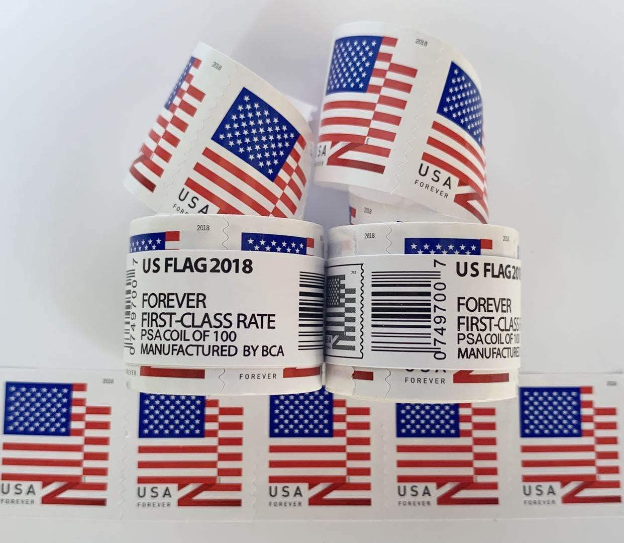 100 Stamps 2018 US Flag Class Forever Stamps,Forever Postage Stamps