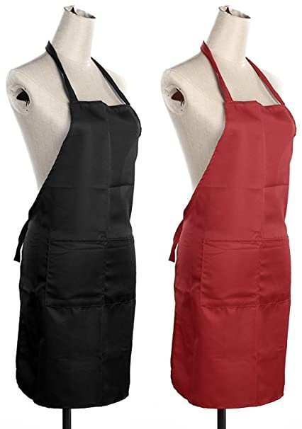 Exporthub Waterproof Kitchen Apron (Set Of 2 Piece) Black & Red Apron