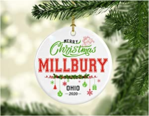Christmas Decorations Tree Ornament - Gifts Hometown State - Merry Christmas Millbury Ohio 2020 - Gift for Family Rustic 1St Xmas Tree in Our New Home 3 Inches White