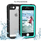 iPhone 5/5S/SE Waterproof Case, Re-sport Shockproof Dustproof Full-sealed Protective Underwater Phone Case Cover with IP68 Certificated for iPhone 5 5S SE (Blue)