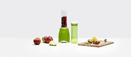 AmazonBasics Mix & Go - Batidora de vaso para smoothie (300 W, 2 vasos sin BPA), color verde: Amazon.es: Hogar