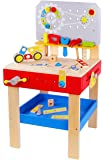 Pidoko Kids Wooden Workbench with Tools and Accessories - Pretend Toys Construction Tool and Work Bench - Playset for Boys & Girls