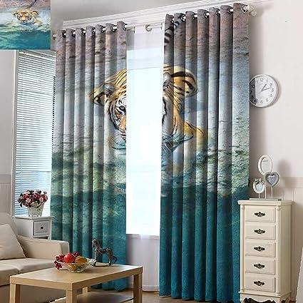Amazon Com Acelik Grommet Curtains Safari Picture Of A Bengal Tiger