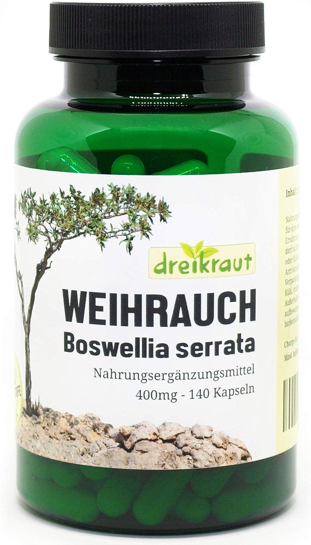 Extracto de Boswellia Serrata puro, Incienso, 140 cápsulas vegetarianas, 400mg, Alta potencia, Producto de Alemania