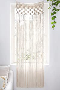 "Mkono Macrame Curtain Wall Hanging, Doorway Window Curtains Handwoven Wedding Backdrop Arch, Closet Room Divider Boho Wall Decor, 29"" W x 80"" L"