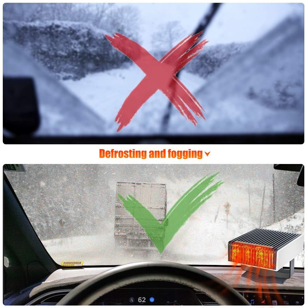 Auto Heizl/üfter 12V Tragbar Fenster-Entfeuchter,Auto Heizung /& K/ühlventilator 2 in 1,Windschutzscheibe Demister Abtauen mit schneller Erhitzung,Wenig L/ärm,180/°Drehung einstecken in zigarettenanz/ünder