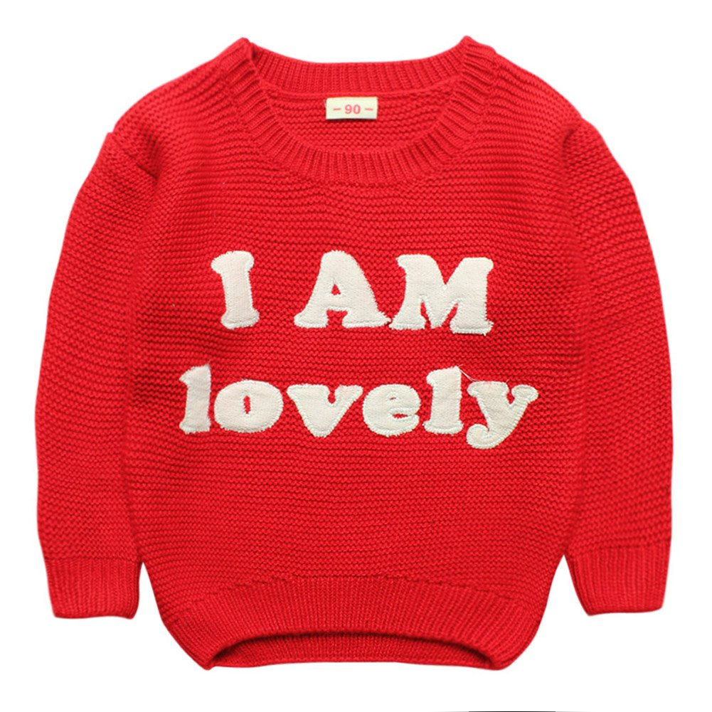 eTree Girls Round Collar Embroidery Letters Thick Cashmere Sweater Clothes