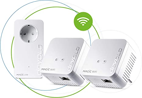 Devolo - Adaptador de Red Magic 1 WiFi Mini Multiroom Kit (2 x Magic 1 WiFi Mini, 1 x Magic 2 LAN), Ethernet, Powerline, 1200 Mbps, Blanco: Amazon.es: Informática