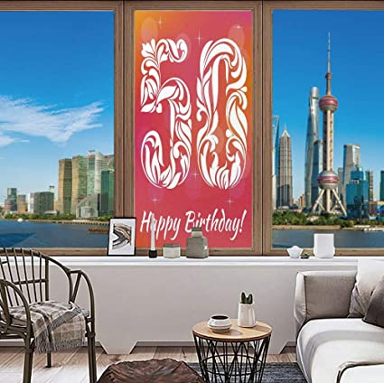 YOLIYANA Colorful Window Film Uv Prevention 50th Birthday Decorations Vibrant Backdrop Stylized Font Floral Swirls And