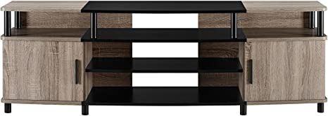 Amazon Com Ameriwood Home Carson Tv Stand For Tvs Up To 70 Weathered Oak Furniture Decor