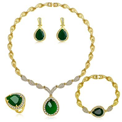 Jewellery & Watches Gold Plated Jewellery Set Necklace And Earrings Zircon Sets