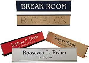 Personalized Office Name Plate Sign with Aluminum Wall or Desk Holder - 2x10 - Customize