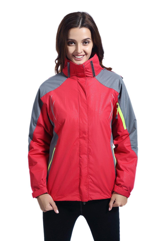 J& D Life Women's Waterproof Outdoor 3-IN-1 Snowboarding Jacket Fleece Liner Warm Coat