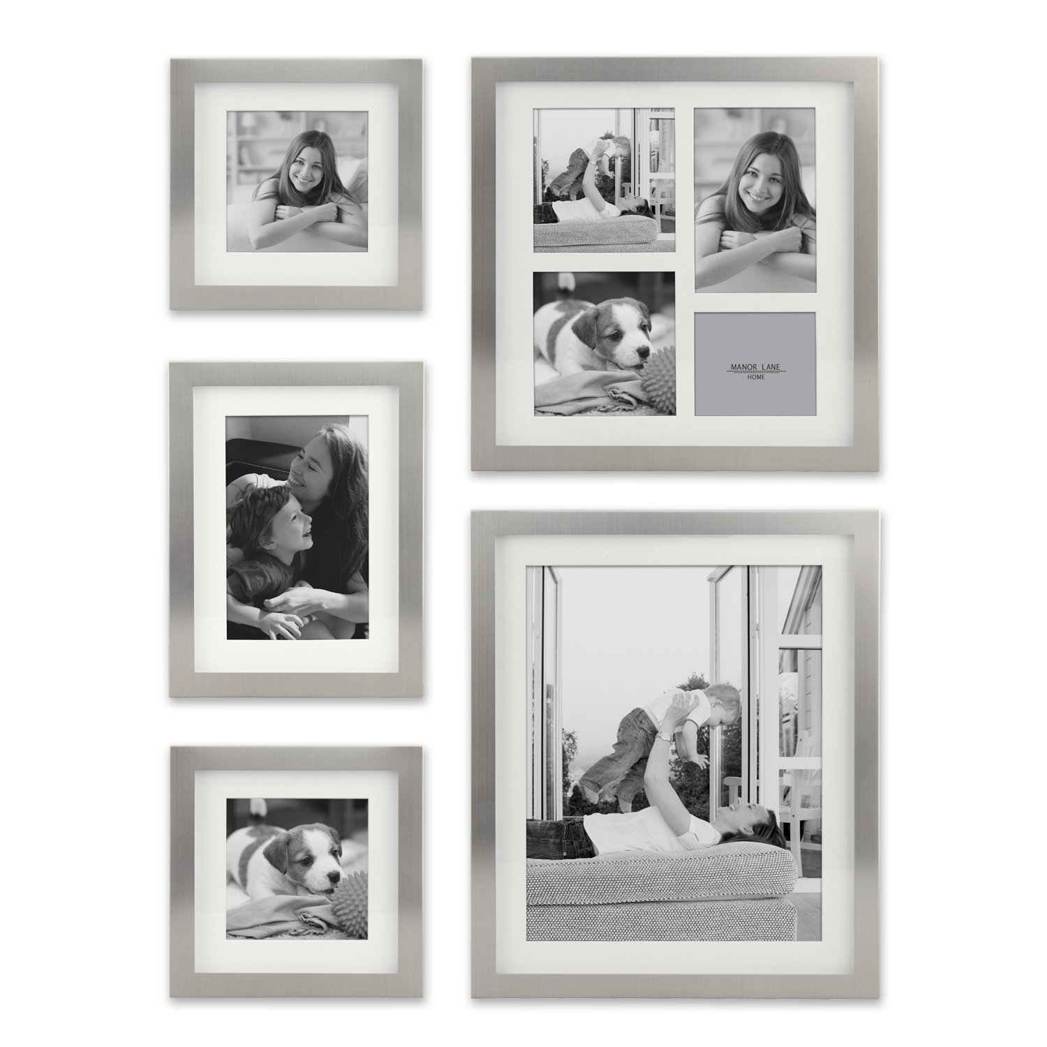 Stonebriar Decorative Stamped Silver 5 Piece Photo Frame Set, Wall Hanging Display, Modern Gallery Wall Set, Gift Idea for Engagements, Weddings, and Birthdays by Stonebriar