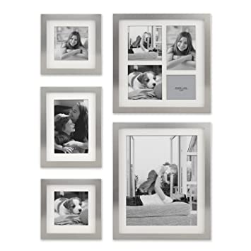 Stonebriar Decorative Stamped Silver 5 Piece Photo Frame Set, Wall Hanging  Display, Modern Gallery