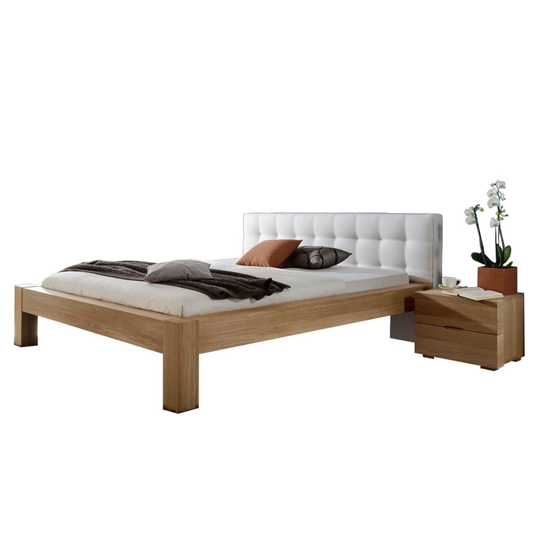 DICO Massivholz-Bettrahmen Select 381.00 Wildeiche mit Polsterkopfteil Lederlook Größe: 200 x 220 cm