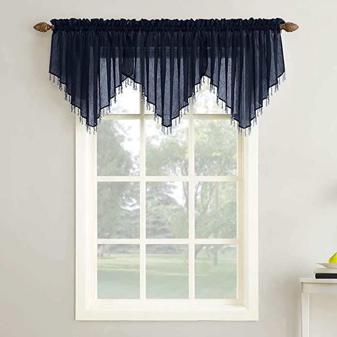 """24""""x51"""" Erica Crushed Sheer Voile Beaded Ascot Curtain Valance Navy - No. 918"""