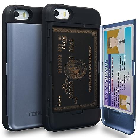 TORU CX Pro Funda iPhone SE Carcasa Cartera Azul con Tarjetero Oculto y Espejo para Apple iPhone SE/iPhone 5S / iPhone 5 - Orquídea Gris