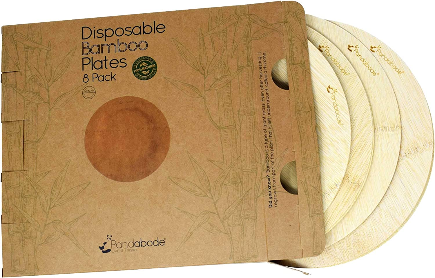 Biodegradable Eco Luxury for Parties 8 Disposable Bamboo Plates Set by Pandabode/™ Wedding Picnic and Camping BBQ Premium High Quality Strong /& Rigid