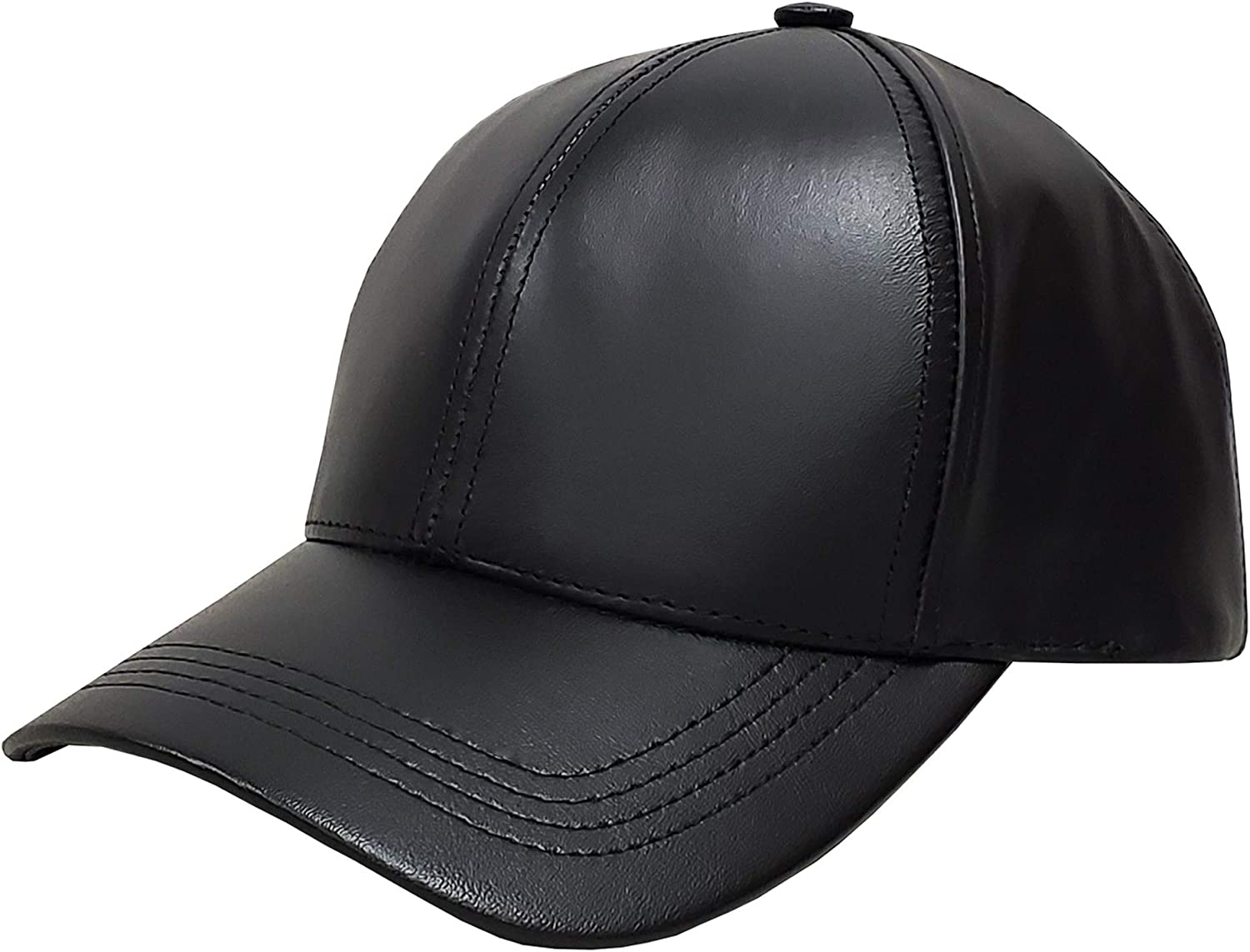 High Quality Leather Hat Winter Warm Cowhide Baseball Cap Men Motorcycle Hats