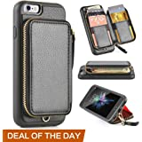 iphone 6 Plus Wallet Case, ZVE iphone 6 Plus Case with Credit Card Holder Slot Protective Leather Wallet Case Handbag Case Cover for Apple iphone 6 Plus / 6S Plus 5.5 inch-Black