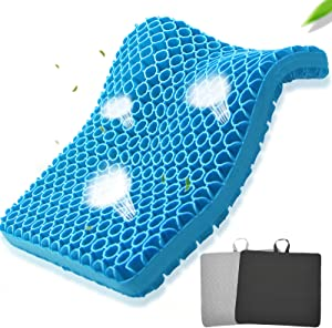 Rongbaor Gel Seat Cushion, Extra-Large Egg Seat Cushion Thick Breathable Office Chair Cushion Honeycomb Design Pain Relief for Car Wheelchair with 2 Non-Slip Covers (Blue)