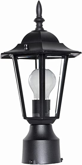 Damp Safety Rating Rated Lumens Maxim Lighting Clear Glass 100W Max. MB Incandescent Incandescent Bulb Maxim 3001CLWT Builder Cast 1-Light Outdoor Pole//Post Lantern Glass Shade Material White Finish Standard Dimmable