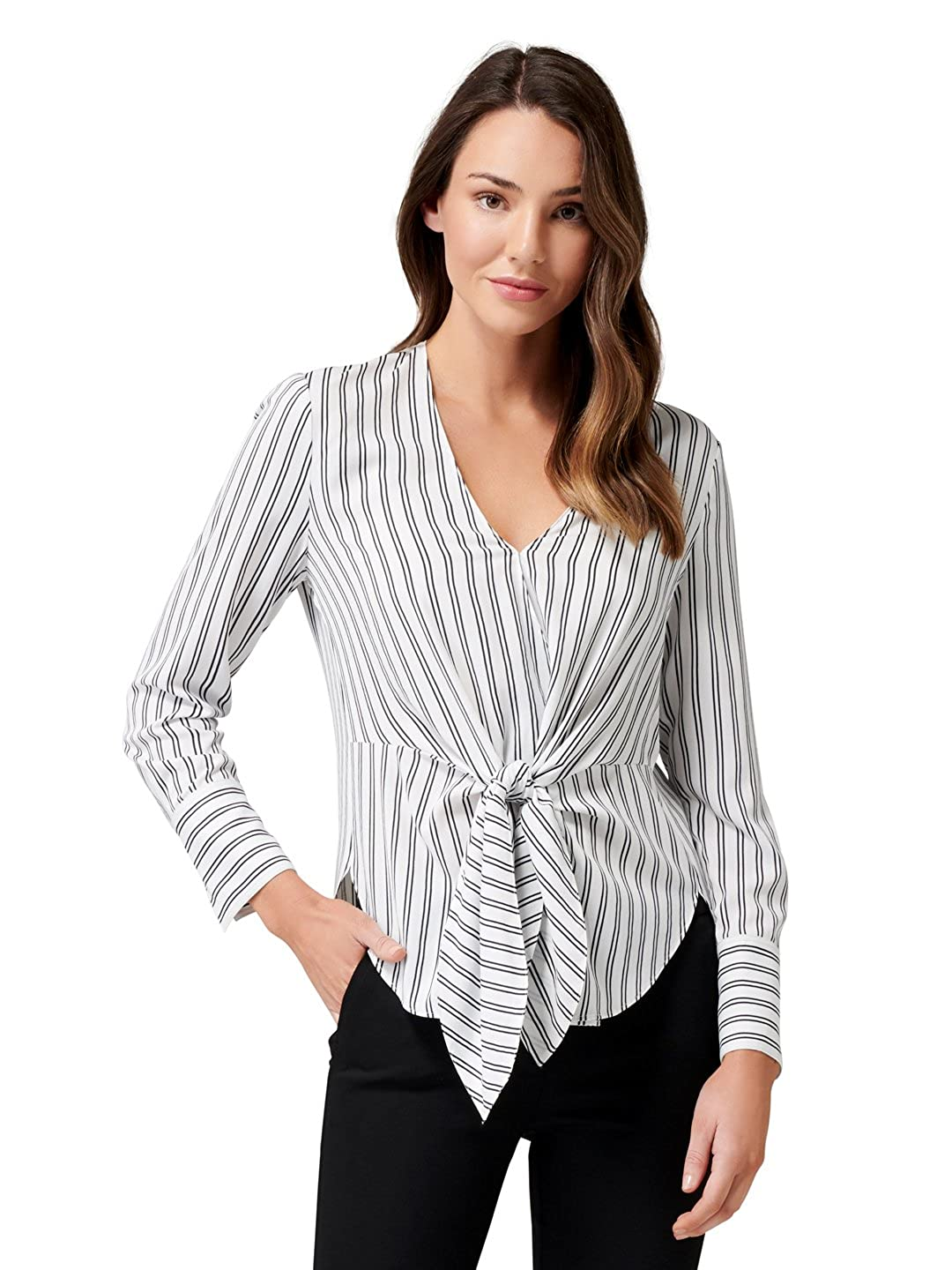 1d3513cb15370 Ever New Womens Deborah Stripe Tie Front Blouse at Amazon Women s Clothing  store