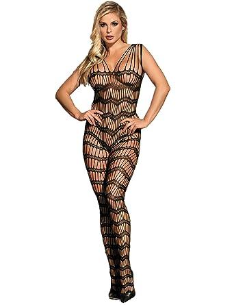 13feea8caf ohyeahlady Women Plus Size Bodystocking Bodysuit Lingerie Fishnet Body  Stockings Black UK 6-10  Amazon.co.uk  Clothing